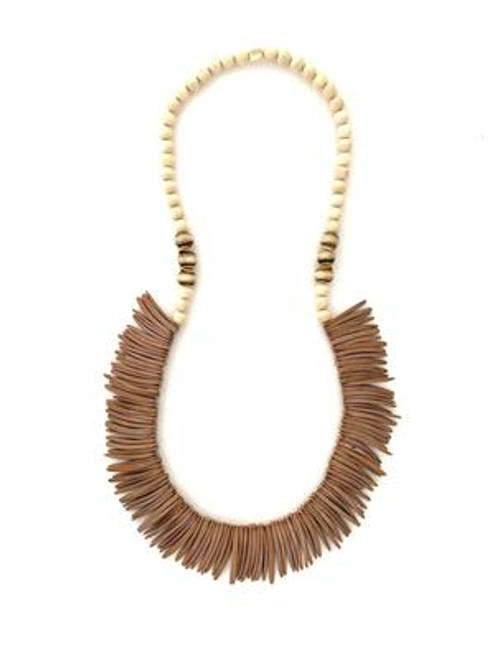 Long Coconut Wood Necklace - Brown/Cream