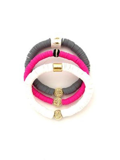 Bracelet Stack Vinyl - White/Pink/Grey
