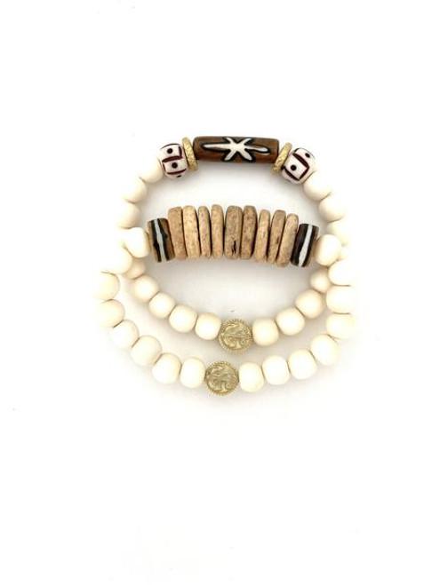 Bracelet Stack - White/Natural/Brown