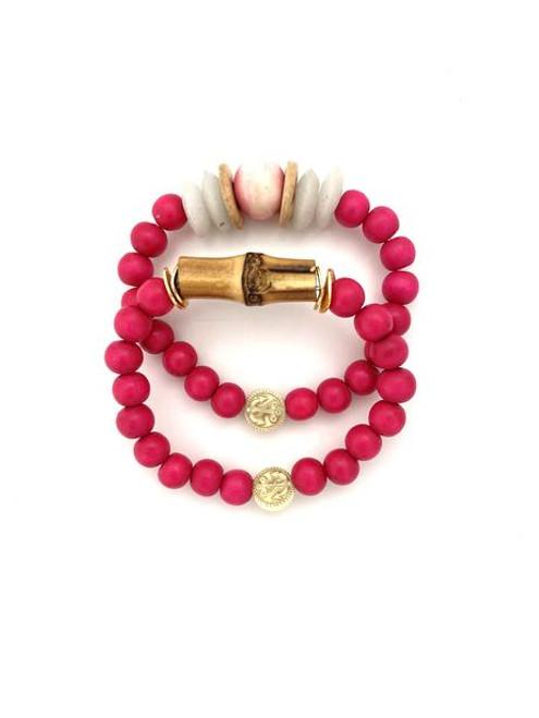 Bracelet Stack - Hot Pink/White