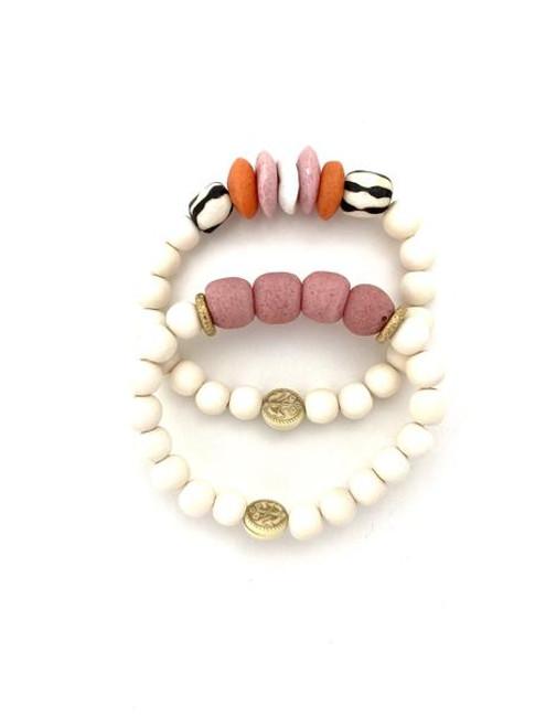Bracelet Stack - White/Orange/Pink