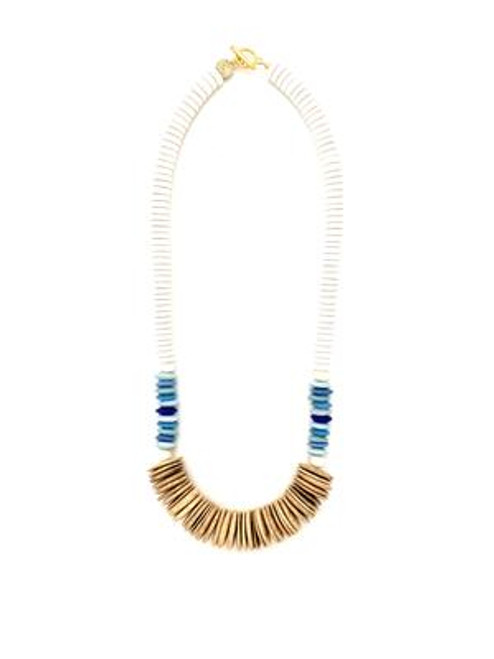 Tumbled Wood Necklace - White/Blue/Natural