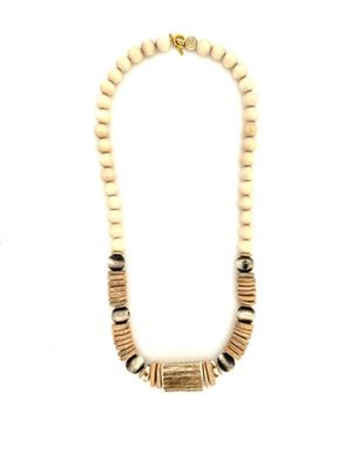 Classic Bead Necklace - White/Natural/Antler
