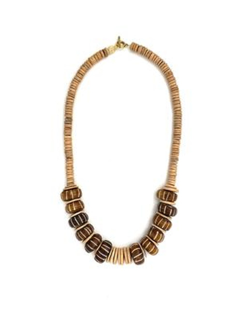 Classic Bead Necklace - Natural/Brown