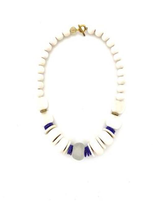 Short Classic Necklace - White/Blue