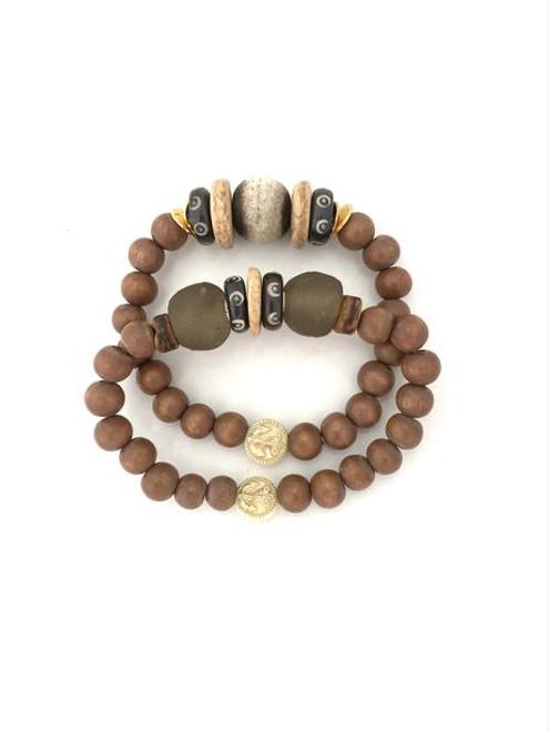 Bracelet Stack - Brown/Olive/Natural