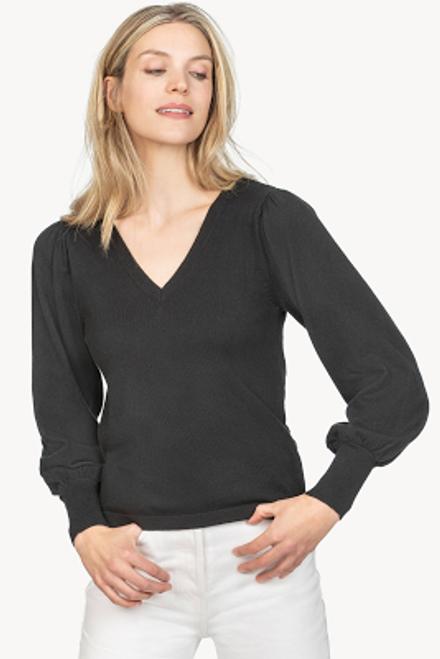 Puff Sleeve V-Neck Sweater - Black