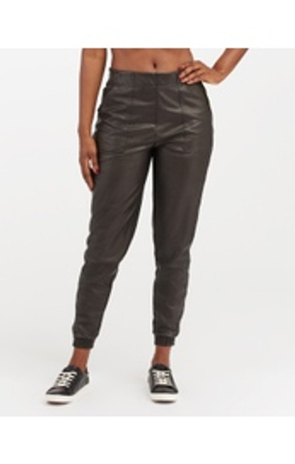 Leather Like Jogger - Black