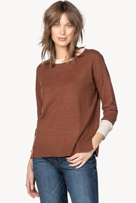 Long Sleeve Colorblock Sweater - Sienna