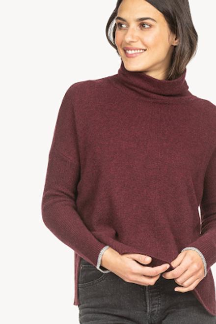 Ribbed Sleeve Turtleneck Sweater - Oxblood