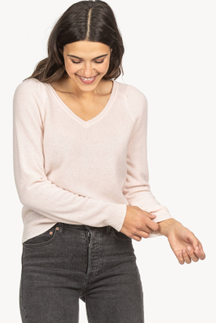 Shirred Sleeve V-Neck Sweater - Petal