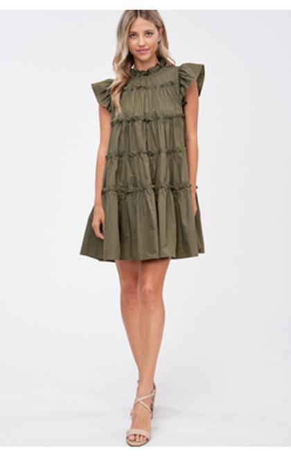 Poplin Tiered Mini Dress - Khaki