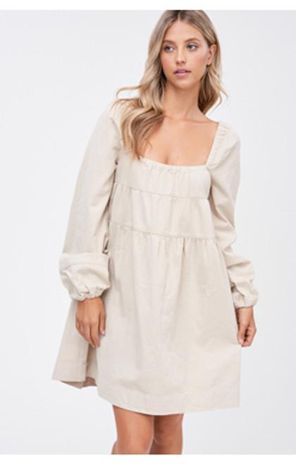 Denim Square Neck Dress - Natural