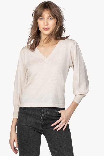 3/4 Puff Sleeve V Neck Sweater - Oat