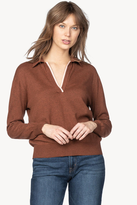 Easy Polo Collar Pullover Sweater - Sienna