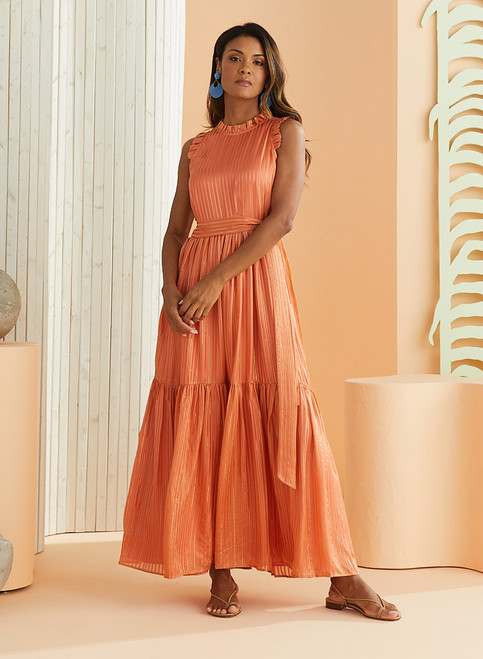Alice Ruffle Dress - Terracotta