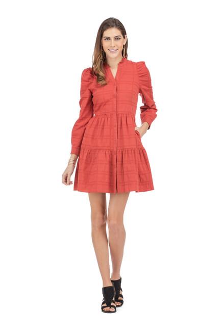 Button Front Tier Dress - Rust