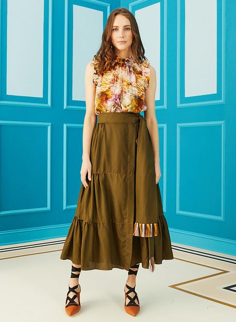 Tanya Wrap Skirt - Juniper Green