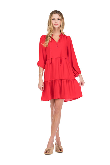 Trimmed Baby Doll Dress - Red