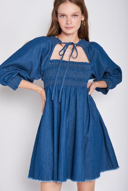 Smocked Denim Babydoll Dress - Blue