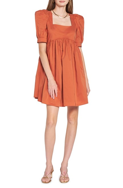 Poplin Mini-Dress - Brown