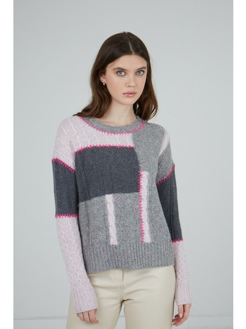 Patchwork Cable Crew - Tuttie Frutti/ Pink Heather