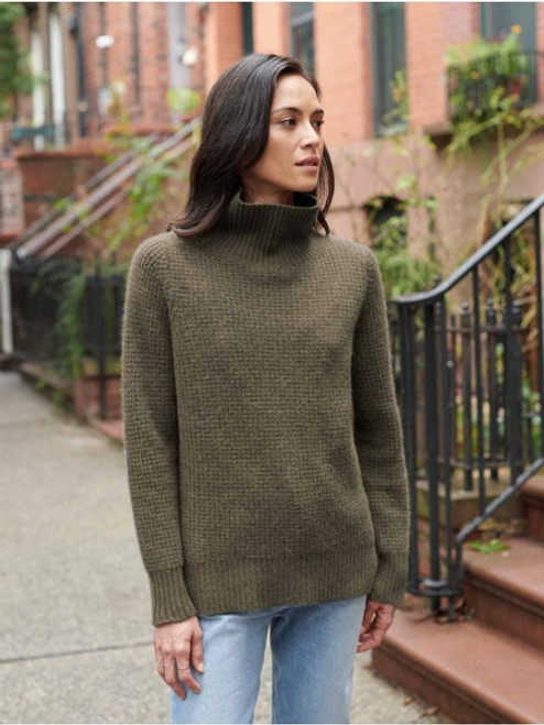 Luxe Waffle Knit Stand Knit - Vintage Khaki