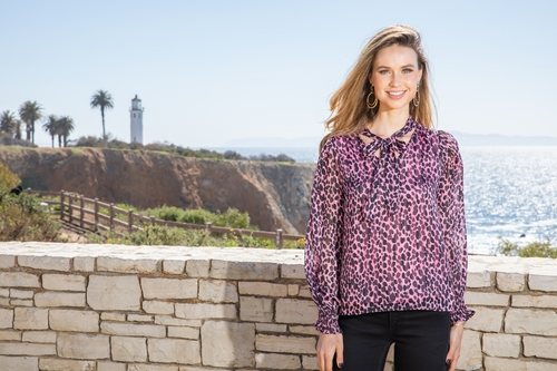 Tie Front Blouse - Pink Cheetah