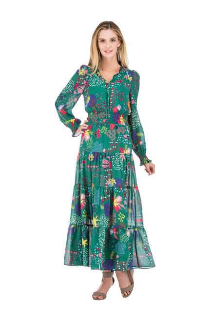 Tie Front Maxi Dress - Green Multi