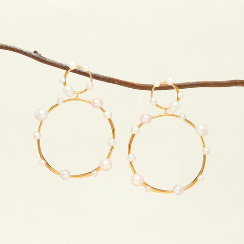 Isla Pearl Drop Earrings - White Gold