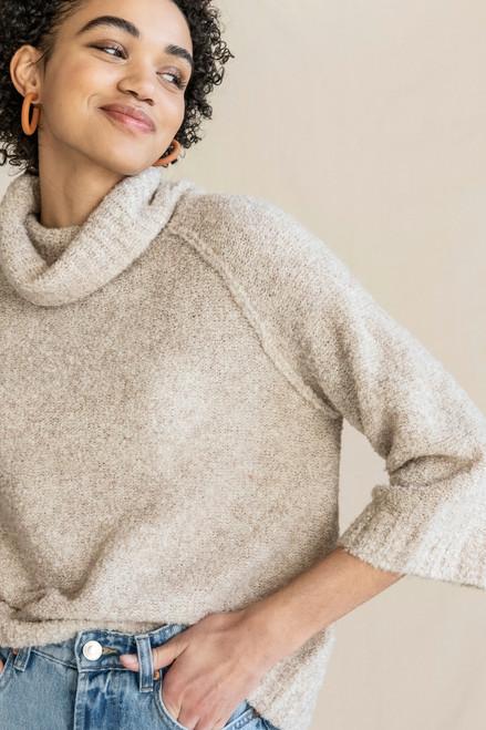 Easy Boucle Turtleneck Sweater - Oatmeal