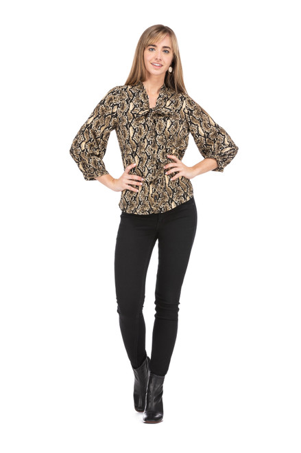 Tie Front Blouse - Snake