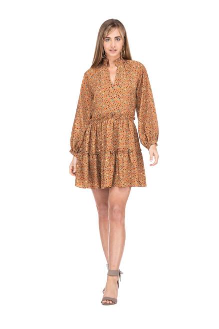 Gathers Waist Tier Dress - Brown Multi Dot