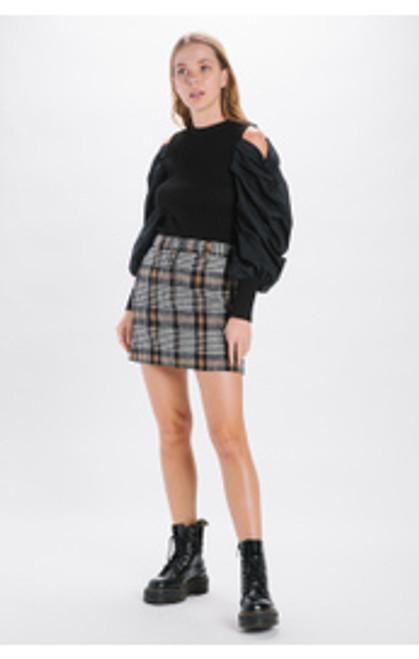 Check Wool Mini Skirt - Black