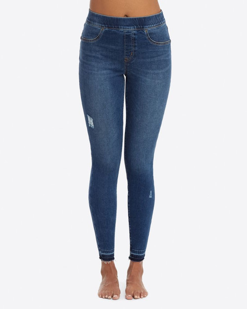 Denim Distressed Leggings - Medium Wash