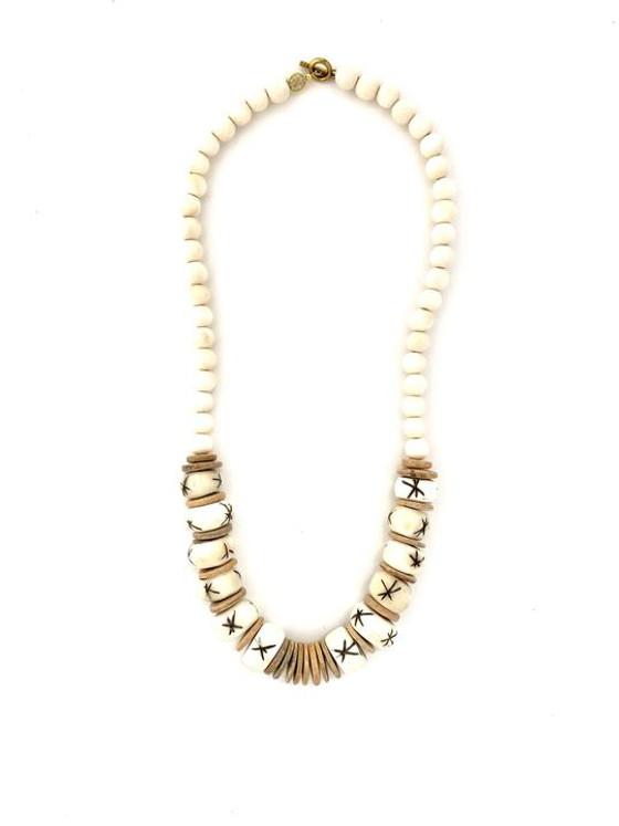 Classic Bead Necklace - White/Nat/White