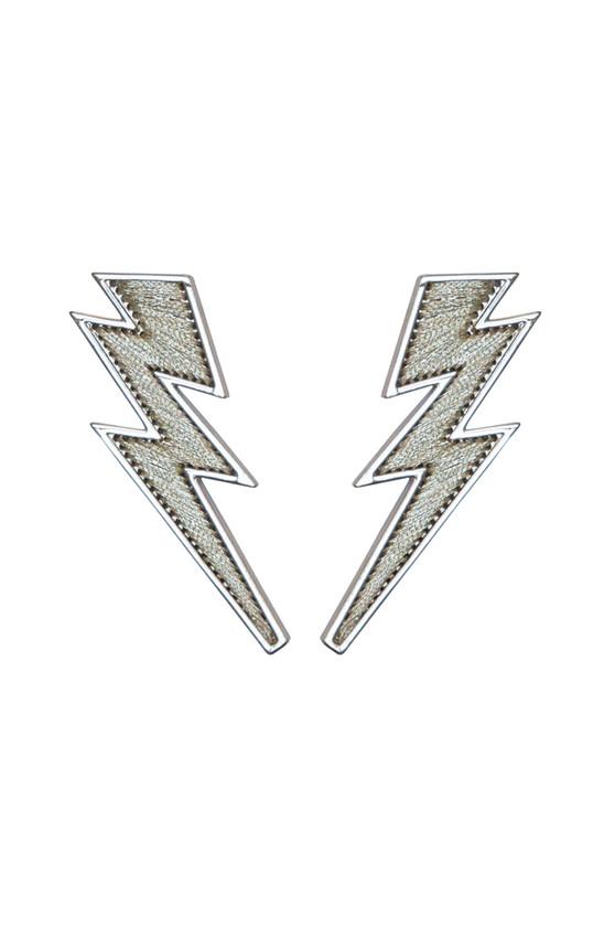 Lightning Bolt Earrings - Silver/White