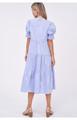 Poplin Tiered Midi Dress - Blue