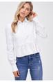 Cotton Poplin Peplum Blouse - Off White