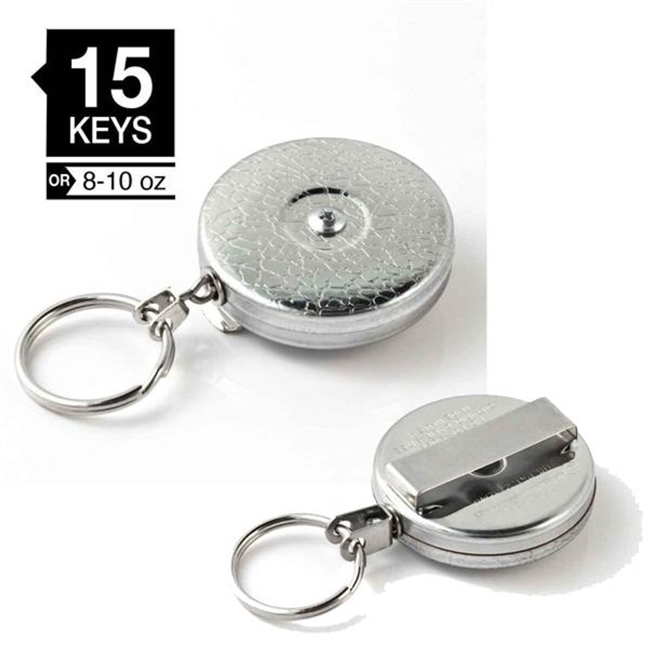 """Retractable Key Reel 24/"""" Stainless Steel Chain with Belt Clip Chrome Color"""