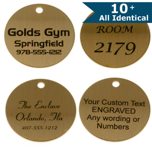 Lacquered Brass Round Tag 1-1/2 Inch - CUSTOM ENGRAVED - All Identical