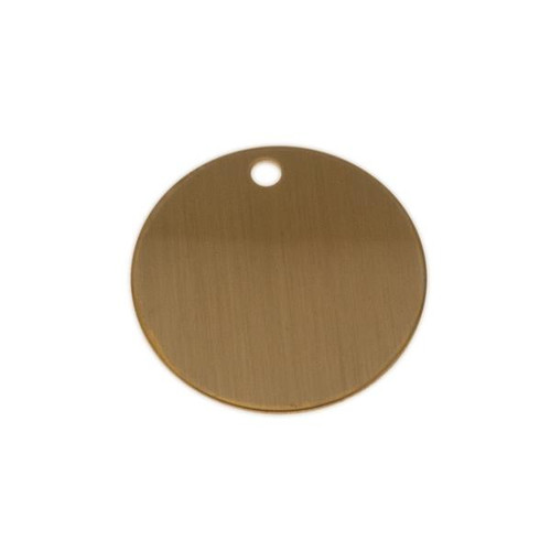 Lacquered Brass Round Tag 1-1/2 Inch - Blank