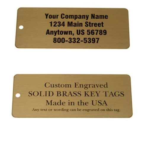 Lacquered Brass Tag Large Rectangle - CUSTOM ENGRAVED