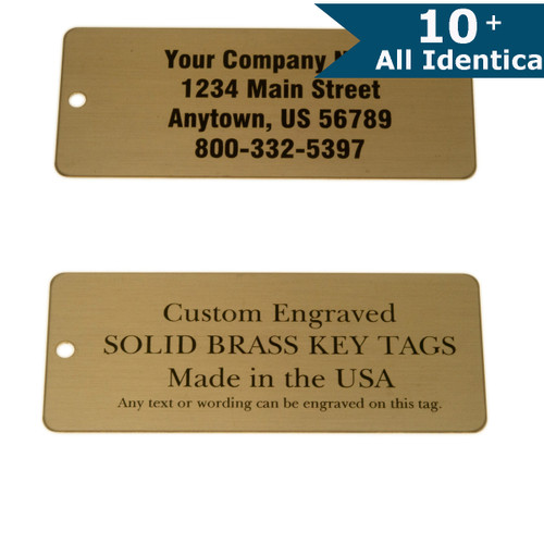 Lacquered Brass Tag Large Rectangle - CUSTOM ENGRAVED - All Identical