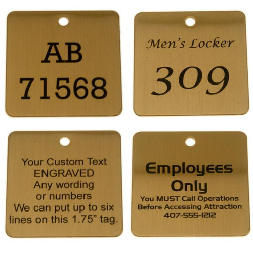 Lacquered Brass Tag 1.75 Inch Square - CUSTOM ENGRAVED