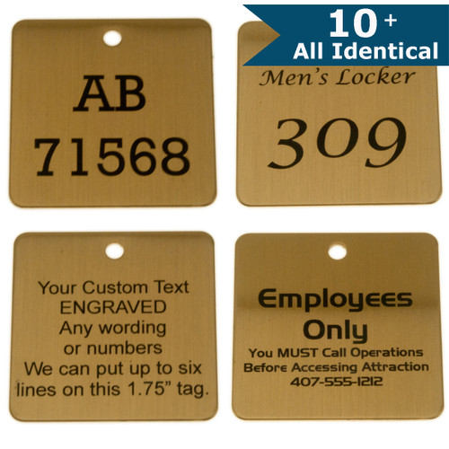 Lacquered Brass Tag 1.75 Inch Square - CUSTOM ENGRAVED - All identical