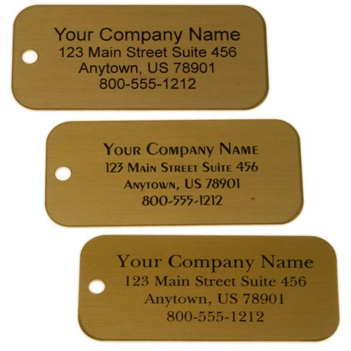 Lacquered Brass Tag Rectangle - CUSTOM ENGRAVED