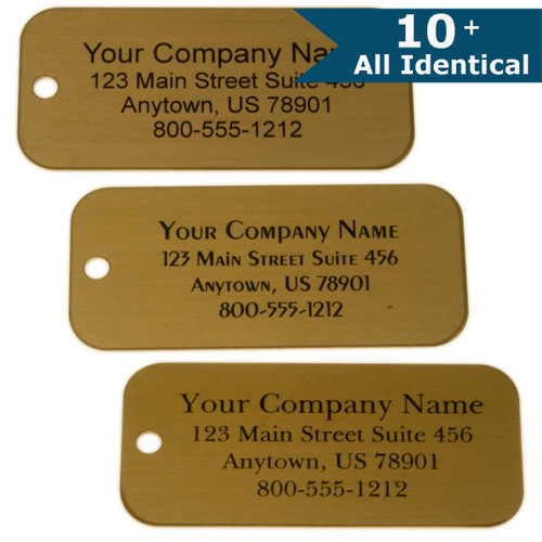 Lacquered Brass Tag Rectangle - CUSTOM ENGRAVED - All Identical