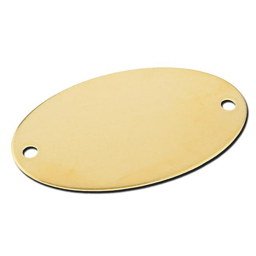 OVAL BRASS TAG 1-5/32 INCH x 2-1/16 INCH  - .040 Thickness 2 Holes