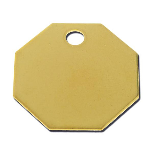 OCTAGON BRASS TAG 1-1/4 INCH - .040 Thickness
